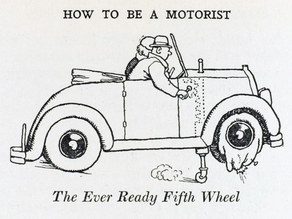 When a flat occurs, simply lower the 'fifth' wheel - merely a solid tyred castor at the end of a hinged lever. Please note: Credit must appear as (c) Courtesy of the estate of Mrs J.C.Robinson/Pollinger Ltd/Mary Evans Picture Library