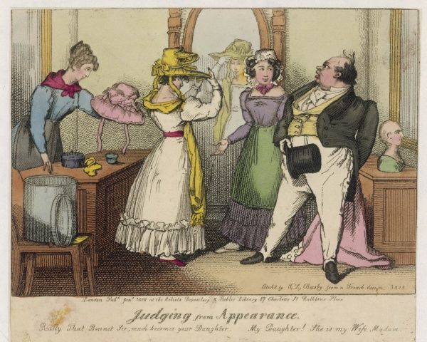 A lady, accompanied by her somewhat older husband, tries on bonnets in a hat shop and admires the effect. One of the assistants offers compliments while the other offers hats