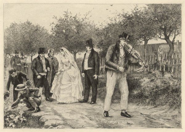 The wedding of Emma and Charles - the procession is led by a fiddler