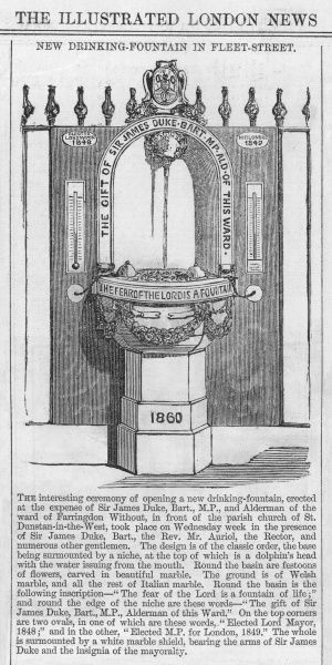 The public drinking fountain in front of the parish church of St Dunstan-in-the-West, Fleet Street, London