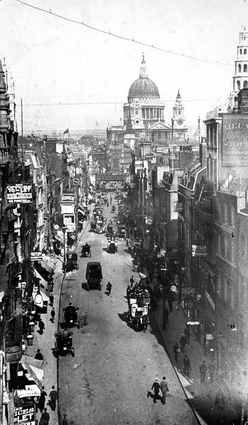 Photograph showing the view east along Fleet Street, London, looking towards St. Pauls Cathedral, c.1880