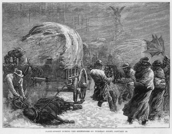 Fleet Street during the snowstorm of Tuesday night of January 18th 1881 showing horses and coaches trapped in the snow