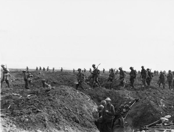 British reinforcements cross what had previously been the German front line on their way to support the advance on Flers during the battle of Flers-Courcelette