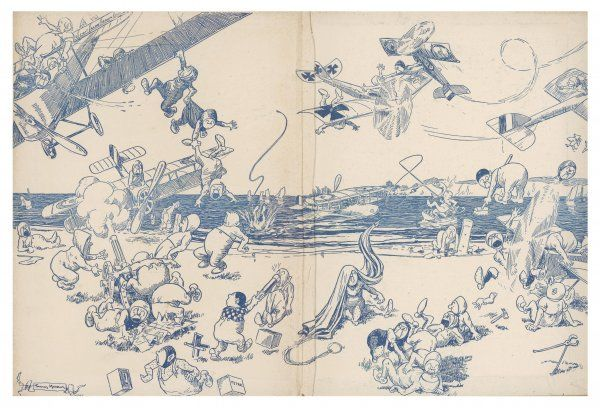 Illustration 2/2 A comical cartoon showing elves or possibly pixies getting into mischief with various aircraft