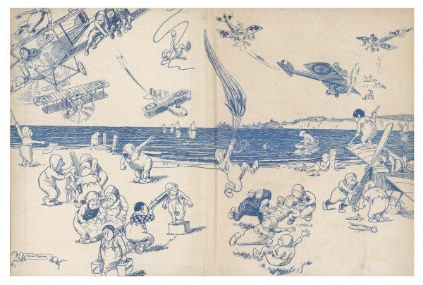 Illustration 1/2 A comical cartoon showing elves or possibly pixies getting into mischief with various aircraft