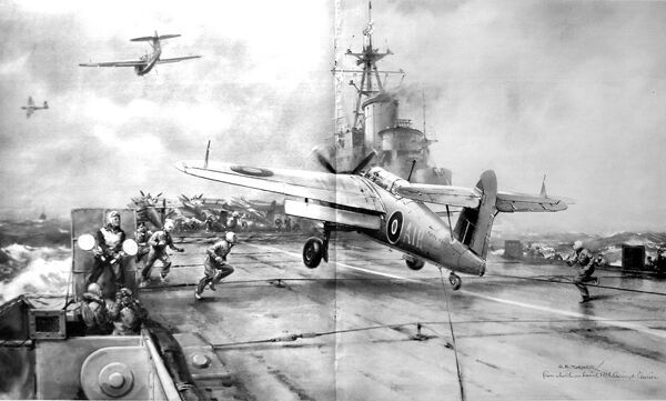 Illustration showing a 'Barracuda' bomber landing on the flight deck of the Royal Navy aircraft-carrier, HMS 'Colossus', in the Pacific Ocean, 1945