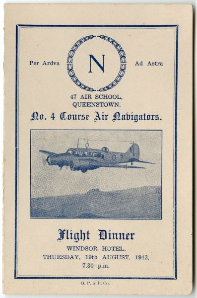 Cover of a menu card for a Flight Dinner held at the Windsor Hotel on Thursday 19th August 1943 for air navigators at 47 Air School, Queenstown, South Africa