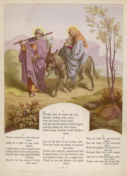 Joseph, Mary and the infant Jesus travel to Egypt to escape the clutches of Herod in Judea
