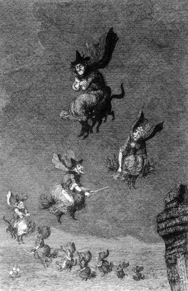 a flight of witches - some on broomsticks, others riding their familiars