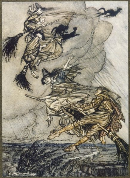 Witches in flight over the English countryside, accompanied by their black cats