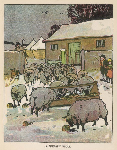 A flock of sheep in the snow, eating from a trough while the shepherd and two children watch
