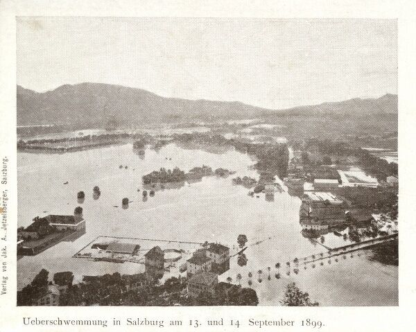 Extensive flooding at Salzburg, Austria between 13th and 14th September 1899 Date: 1899