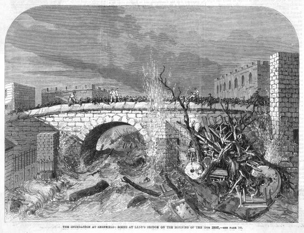 The Great Flood (or Inundation) at Sheffield on 11th March 1864 when the Dale Dyke Dam broke flooding Sheffield and surrounding areas and wrecking nearly all