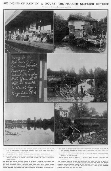 Series of photographs showing the flooded area in Norfolk following excessive rain fall in August 1912. Houses are damaged, train tracks & bridges impassable