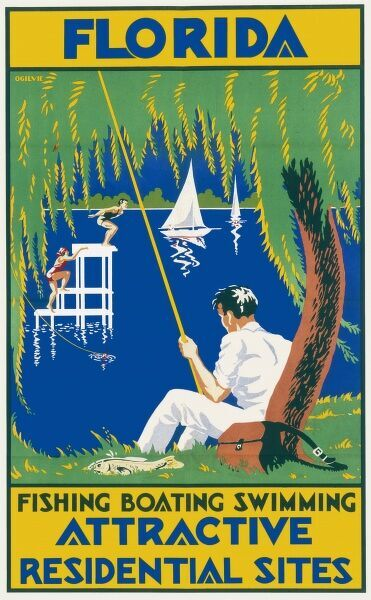 Travel poster advertising the attractions of Florida including fishing, boating, swimming and attractive residential sites. A man fishes on the bank while two ladies dive from a platform
