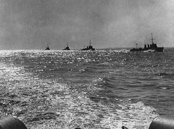 A flotilla of ships off the coast of Harwich, Essex, during the First World War.  1914-1918