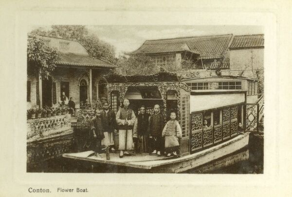 Flower Boat and family occupants - Guangzhou (Canton / Kwangchow), China Date: circa 1910