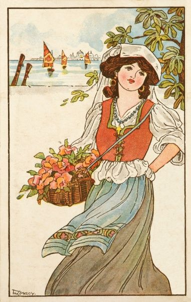 A young maiden carries her basket of flowers along the coastline, ships in the distance