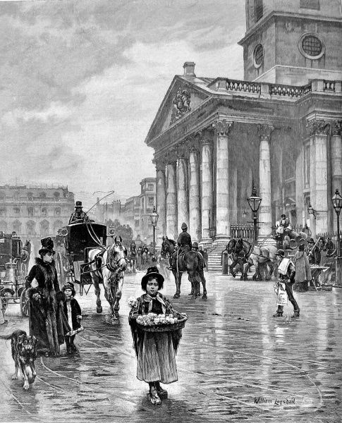 Engraving, after the painting by William Logsdail, showing a London flower-selling girl outside the church of St. Martin's-in-the-Fields, 19th century