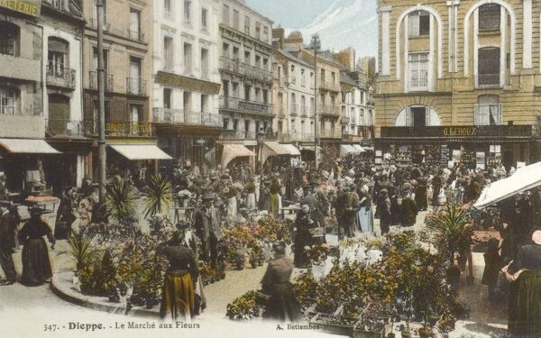 Flower Market at Dieppe, Normandy, France Date: circa 1907