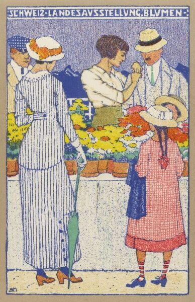 Official postcard from the Swiss National Exhibition, held in Bern in 1914 - A Flower Market - a quite exquisite postcard