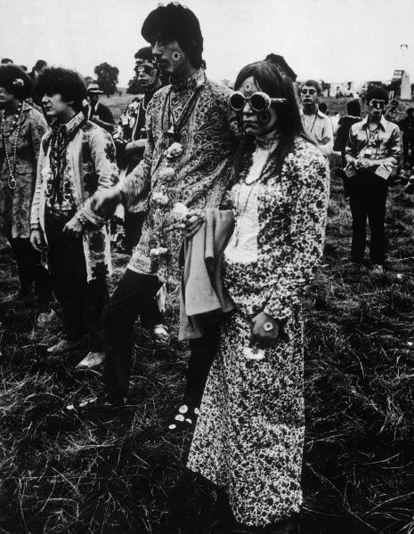 HIPPIES His and Hers Flower Power outfits at the great Love-In at Woburn Park, Bedfordshire, England. Date: August 1967