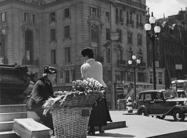 A London flower seller sits on the steps of the Eros statue, Piccadilly, selling violets and other spring flowers