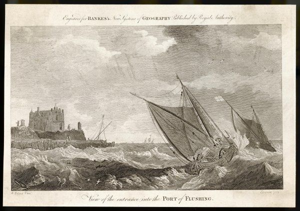 Flushing in the province of Zeeland: A view of the entrance into the port showing a couple of sailing barges being tossed by the raging sea