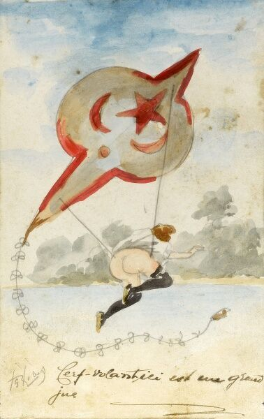 Hand-drawn anti-Turkish French propaganda card depicting a semi-naked woman being sent as a 'volunteer' to the Sultan's Harem via a Turkish kite! circa 1910s