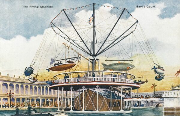 The Flying Machine entertainment ride at Earl's Court designed by Sir Hiram Maxim and opened in 1905