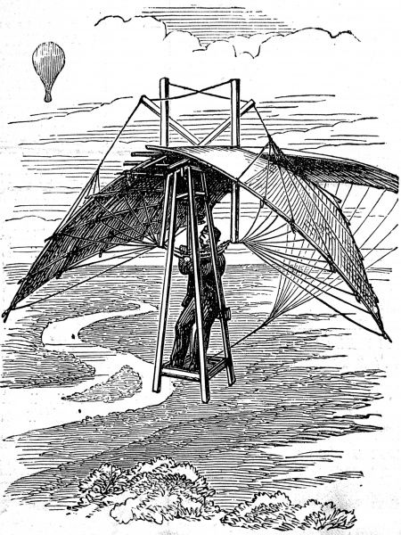 Engraving showing an invention of 1874, the 'Flying Man's Parachute&#39
