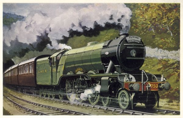 The London and North Eastern Railway's 'Flying Scotsman express, hauled by the 4-6-2 Pacific 'Papyrus' locomotive