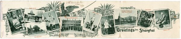 Fold-out postcard with scenes of Shanghai, China