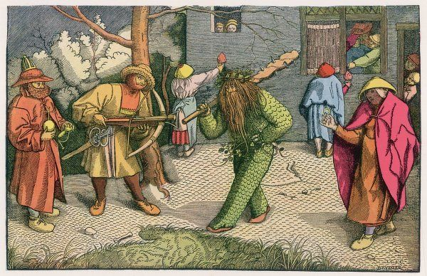 FASTNACHTSSPIELE The 'Green Man' depicted as one of a group of Shrovetide characters in 16th century Holland/Germany