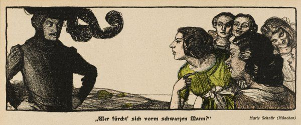 'DER SCHWARZE MANN' Ladies scared but attracted by a Man In Black