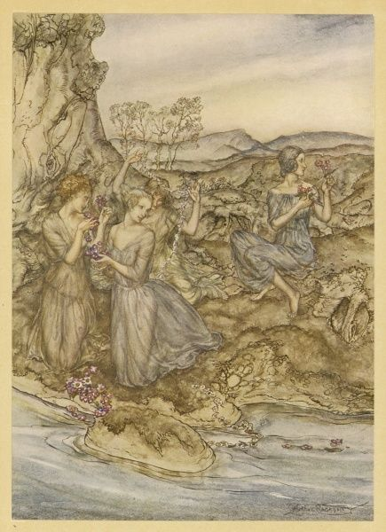 Herakles met these nymphs on his way to steal the Golden Apples of the Hesperides, and they warned him of the dangers involved