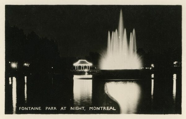 Fontaine Park (with Fountains in full effect!) at night, Montreal, Canada