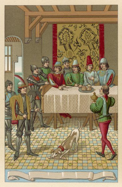 Mealtime at the chateau de Rouen ; Charles, duc de Normandie, is at table when his father Jean II arrives unexpectedly