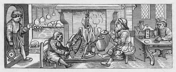Woodcut from 1518, showing an interior of a kitchen