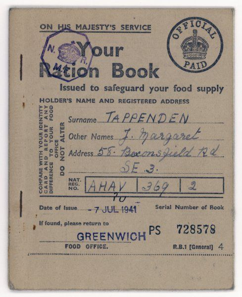 An example of a food ration book