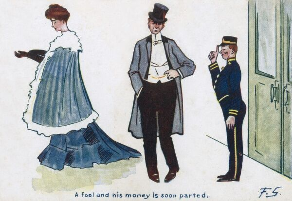 'A Fool and his money is soon parted' A bellboy and a 'lady' are doing their best to remove the money from a gentleman's wallet!