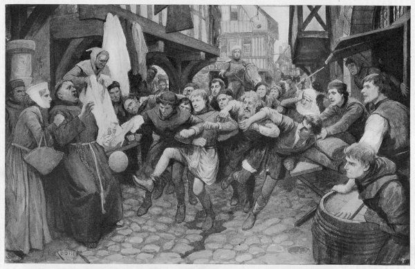Football played in the street during the Middle Ages
