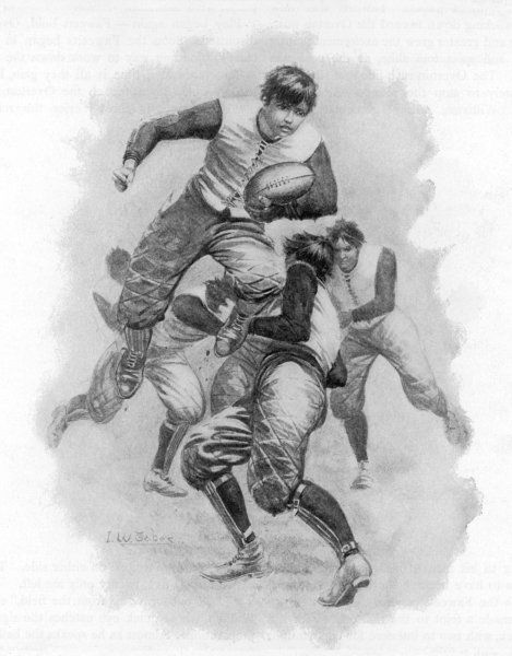 A young player leaps through a tackle whilst clutching the ball. Date: 1894