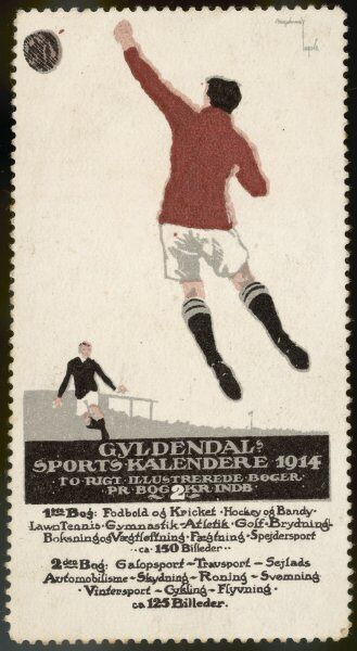 A footballer leaps for the ball on a poster for a Norwegian sports calendar