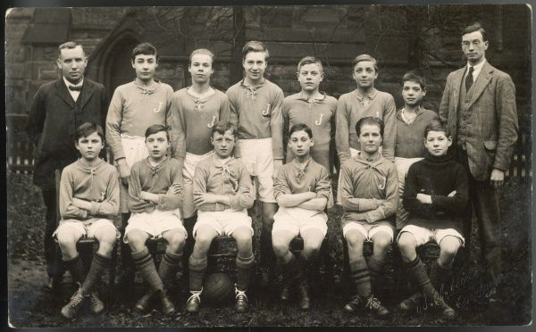 A group photo of the football team of St James's School, Derby