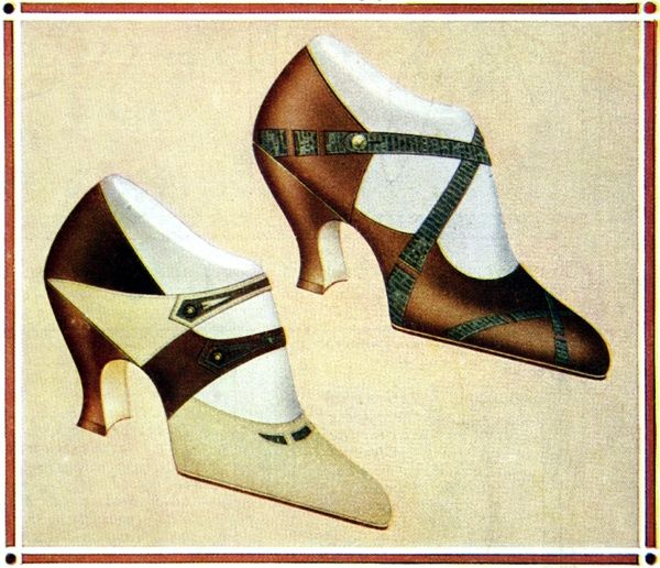 A colourful illustration of two leather shoe designs. The left shoe was made from blending tan suede with fawn kid and the right was a design of tan kid trimmed with lizard skin