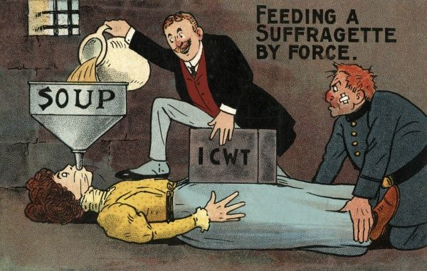 A cartoon depicting a suffragette being force fed in a prison cell