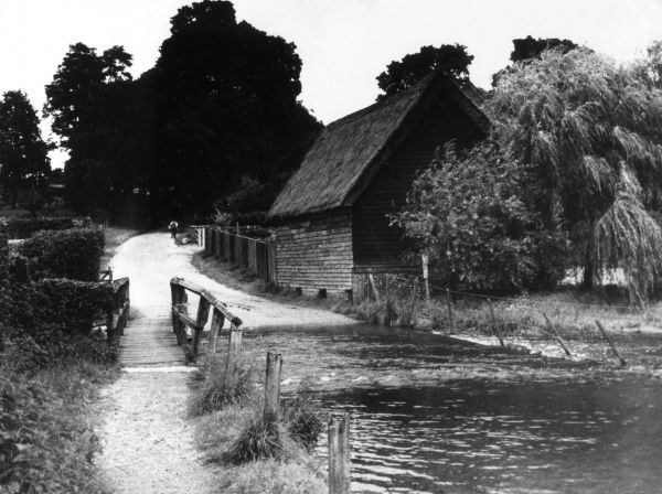 The Ford on the River Lea, Waterend, east of Wheathampstead, Hertfordshire, England. The lane is a fragment of a Roman Road, pointing towards Welwyn. Date: 1930s