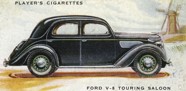 The Ford V-8 is the archetypal touring saloon at the very modest price of L210. Date: 1937