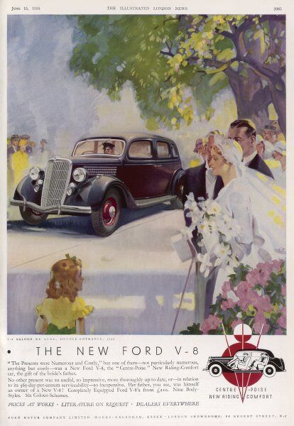 The chauffeur brings forward a Ford V-8 saloon de luxe, in which the bridge and groom will drive from the church